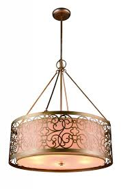 4 light drum shade chandelier with rubbed silver finish