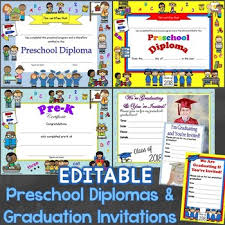 Preschool Graduation Certificate Editable Preschool Diplomas Certificates Graduation Invitations Editable