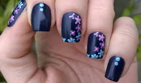 Life World Women: Dark Blue 'Suede' Nail Art With Colorful Flowers