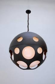 large perforated globe pendant from circa early 2000s in powder coated aluminium and acrylic overall