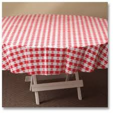 hoffmaster 112016 red gingham round plastic tablecovers 84 inch