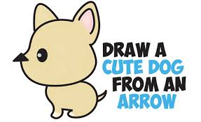 cute dogs drawings step by step. Interesting Dogs How To Draw A Cute Cartoon Dog Kawaii Style From An Arrow Easy Step By  Drawing Tutorial For Kids And Dogs Drawings By P