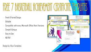 Achievement Certificate Templates Free Basketball Achievement