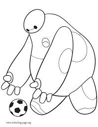 Small Picture Big Hero 6 Baymax kicking a soccer ball coloring page