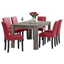 Details About Encasa Esstisch 160x90 Eiche Dunkel 6 Stühle Rot Esszimmer Tisch Essgruppe
