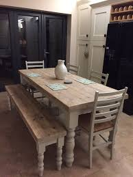 table with bench. nice farmhouse dining table with thick reclaimed wood top, made to measure custom, restaurant shabby chic farrow \u0026 ball painted 6 8 seater bench