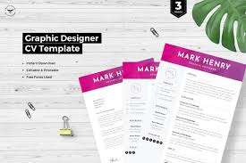Graphic Designer Cv Template Resume Templates Creative Market