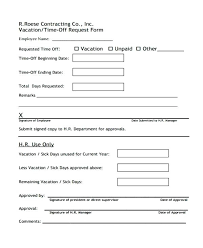 Free Time Off Request Form Template Vacation – Gocollab