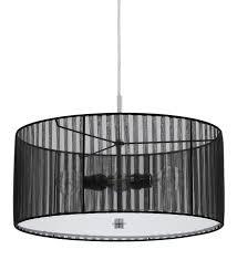 organic black sheer fabric modern drum pendant light fixture chandelier hanging lamp 18 wide