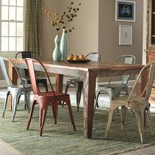 coaster furniture dining set rustic rectangular table with scrubbed paint look