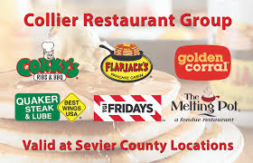 collier restaurant group gift cards are redeemable at any of our locations in sevierville pigeon forge and gatlinburg they are available in any