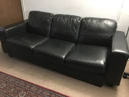 black leather couch. 2 Black Leather Sofa Couch I