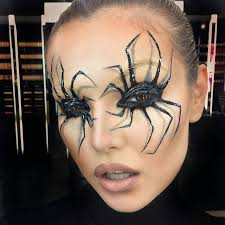 spider web makeup on face