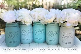 Light Blue Mason Jars Beach Blue Painted Mason Jars Distressed Mason Jars Blue