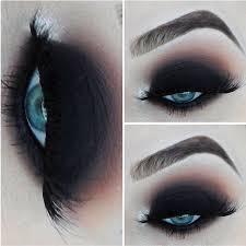 dramatic dark black smokey eyes by valerievixenart