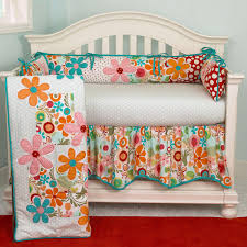 orange baby bedding  lizzie turquoise pink and orange flowers