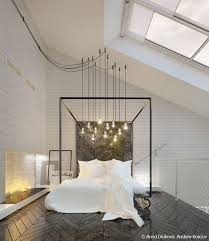 contemporary master bedroom with skylight herringbone tile floors high ceiling pendant light