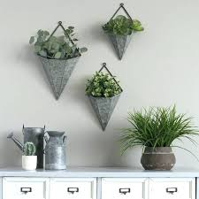 galvanized wall planter triangular 3 piece metal planters set zinc uk pocket