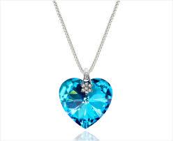crystal heart necklace pendant aqua blue