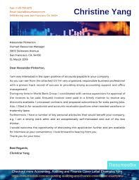 Accounts Payable Cover Letter Example