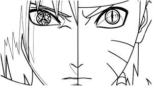 Face Of Naruto And Sasuke Coloring Page Free Printable Coloring