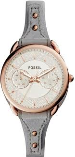 women s fossil tailor multifunction grey leather strap watch es4049 loading zoom
