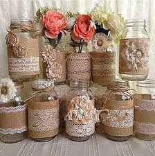 How To Decorate A Jar 100M NEW Lace Burlap Ribbon Natural Jute Hessian Vintage Wedding 2