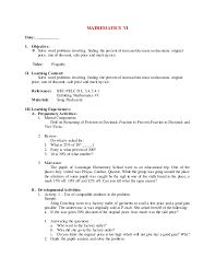 4th grading mathematics vi