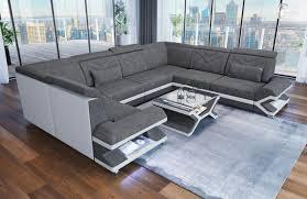 Fabric Design Sofa Sacramento U Shape With Led