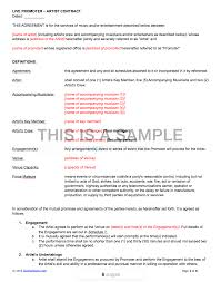 Performance Agreement Contract Live Promoter Artist Contract Template 1