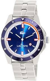 amazon com lacoste men s durban 2010701 stainless steel blue lacoste men s durban 2010701 stainless steel blue watch
