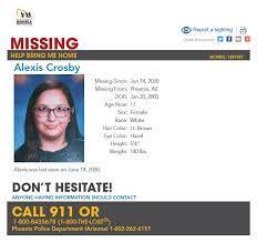 "MR Humble ✨❄️ on Twitter: ""17 year old Alexis Crosby has been #missing from  #Phoenix in #MaricopaCounty #Arizona since June 14, 2020  https://t.co/oKsjASu0I6… https://t.co/aBMnEIxten"""