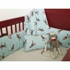 sock monkey crib bedding in blue by mad boo
