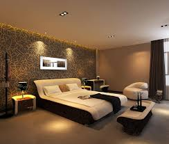 interior: Brown Accents Wall Idea For Large Bedroom Combine With Floral  Background Print And Completed