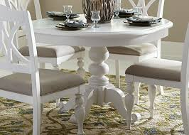 kitchen pedestal dining table set: summer house i oyster white round pedestal dining table