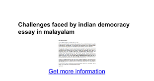 challenges faced by n democracy essay in malayalam google docs