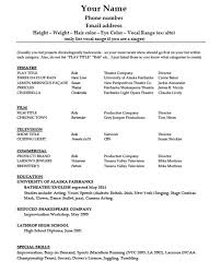 Acting Resume Template Word Template Download Acting Template Pdf Word Wikidownload Theatre R 1