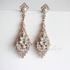 rose gold wedding earrings chandelier bridal earrings view larger