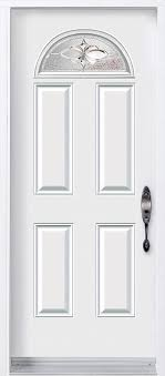 traditional white door with small half moon glass insert