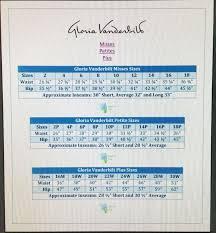 Gloria Vanderbilt Jeans Size Chart Gloria Vanderbilt Pants Size Chart Best Picture Of Chart