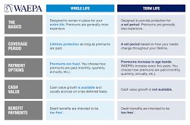 Life Insurance Types Comparison Chart Life Insurance Term Versus Whole Waepa