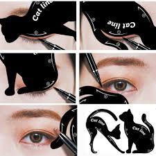 details about 1 pair women cat line pro eye makeup tool eyeliner stencil template shaper model