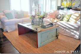 coffee table made from salvaged door