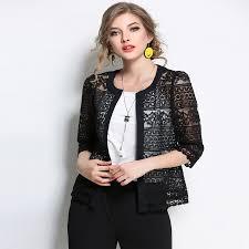 2018 new women plus size clothing 5xl 4xl summer las spring summer cardigan coat black crochet y female white lace jacket er leather jacket jacket