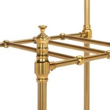 Brass Standing Coat Rack happimess Tenley 100 in Brass 100Hook Coat Rack with Umbrella Stand 50