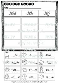 Click on the category or resource type below to find printable phonics worksheets and teaching activities. Long Vowel Teams Sorts Ee Ea Ey Cut And Paste Worksheets By Busy Bee Studio