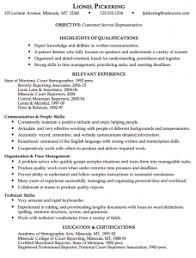 Customer Service Representative Resume | Musiccityspiritsandcocktail.com