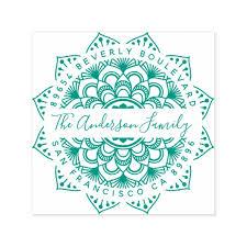 avery template 8965 fun green mandala family name return address self inking stamp