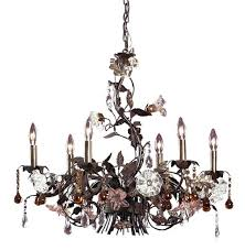 6 light chandelier in deep rust and hand blown florets multi colored crystal earrings bronzed
