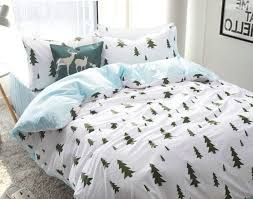trees print bed cover